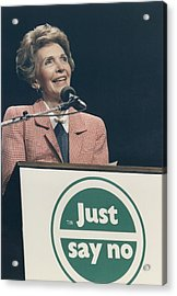 Nancy Reagan Speaking At A Just Say No Acrylic Print by Everett