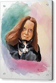 Nandi And Her Cat Acrylic Print by Charles Hetenyi
