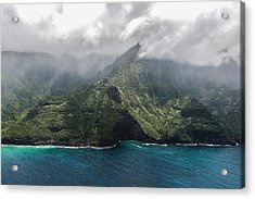 Napali Coast In Clouds And Fog Acrylic Print