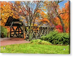 Acrylic Print featuring the painting Naperville Riverwalk Covered Bridge by Christopher Arndt