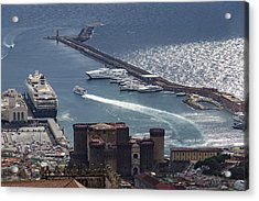 Naples Distinctive Harbor In Silver And Blue - Castles And Cruise Ships From Above Acrylic Print by Georgia Mizuleva