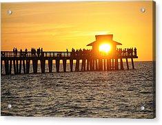 Naples Florida Sunset Pier Acrylic Print by Keith Lovejoy