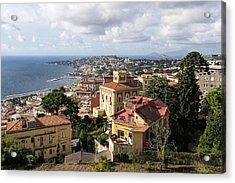 Naples Italy Aerial Perspective - Chiaia And Mergellina Seafront Neighborhoods Acrylic Print by Georgia Mizuleva