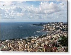 Naples Italy Aerial Perspective - Coastal Beauty Of Mergellina, Posillipo And Marechiaro Acrylic Print by Georgia Mizuleva