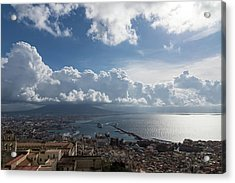 Naples Italy Aerial Perspective - Dramatic Clouds Over The Harbor Acrylic Print by Georgia Mizuleva