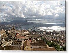 Naples Italy Aerial Perspective - God Rays Clouds And Vistas Acrylic Print by Georgia Mizuleva