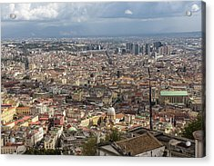 Naples Italy Aerial Perspective - Spaccanapoli Downtown And The Fabulous Clay Tile Rooftops Acrylic Print by Georgia Mizuleva