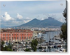 Naples Italy Aerial Perspective - The Harbor And Mount Vesuvius Acrylic Print by Georgia Mizuleva