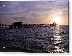 Naples Pier Sundown Acrylic Print by Keith Lovejoy