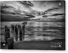 Naples Sunset In Black And White Acrylic Print