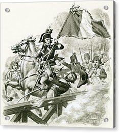 Napoleon Leading His Army Across The Bridge At Lodi Acrylic Print by Pat Nicolle