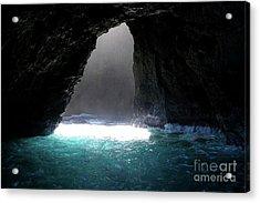 Napoli Coast Sunlit Cave In Kauai Acrylic Print by Loriannah Hespe