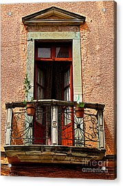 Narrow Red Window Acrylic Print by Mexicolors Art Photography
