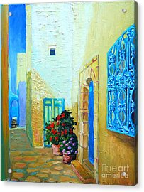 Acrylic Print featuring the painting Narrow Street In Hammamet by Ana Maria Edulescu