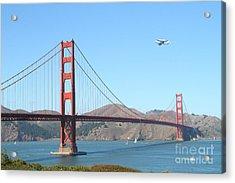 Nasa Space Shuttle's Final Hurrah Over The San Francisco Golden Gate Bridge Acrylic Print by Wingsdomain Art and Photography
