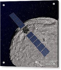 Nasas Dawn Spacecraft Orbiting Acrylic Print by Stocktrek Images