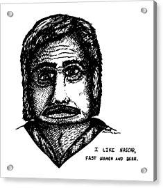 Nascar Comic Acrylic Print by Karl Addison