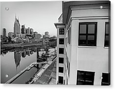Acrylic Print featuring the photograph Nashville Along The River - Black And White by Gregory Ballos
