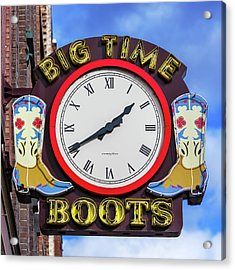 Nashville Big Time Boots Acrylic Print
