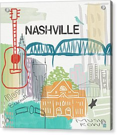 Nashville Cityscape- Art By Linda Woods Acrylic Print by Linda Woods