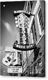 nashville crossroads music city ernest tubbs record shop on broadway downtown Nashville Tennessee US Acrylic Print by Joe Fox
