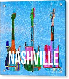 Nashville Guitars Acrylic Print by Edward Fielding