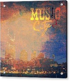 Nashville Music City Acrylic Print by Brandi Fitzgerald