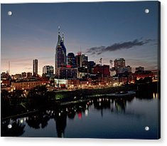 Nashville Skyline And The Cumberland Acrylic Print by Everett