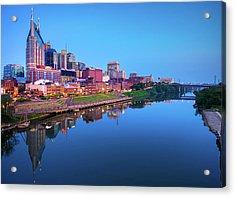 Nashville Skyline At Blue Hour Acrylic Print