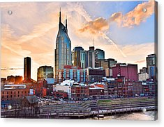 Nashville Skyline At Sunset Acrylic Print