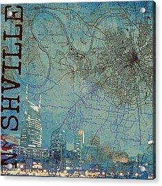 Nashville Skyline Map Acrylic Print by Brandi Fitzgerald