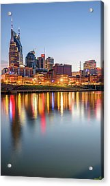 Acrylic Print featuring the photograph Nashville Skyline Reflections - Color Edition by Gregory Ballos