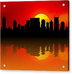 Nashville Skyline Sunset Reflection Acrylic Print by Dan Sproul