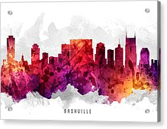Nashville Tennessee Cityscape 14 Acrylic Print by Aged Pixel