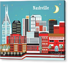 Nashville Tennessee Horizontal Skyline Acrylic Print by Karen Young