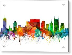 Nashville Tennessee Skyline 21 Acrylic Print by Aged Pixel