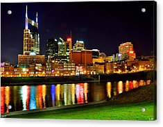 Nashville Tennessee Skyline At Night Acrylic Print by Lisa Wooten
