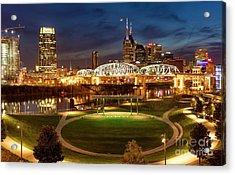 Acrylic Print featuring the photograph Nashville Twilight Skyline by Brian Jannsen
