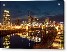 Acrylic Print featuring the photograph Nashville Twilight Skyline II by Brian Jannsen