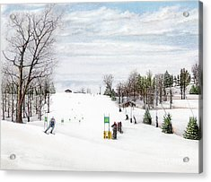 Acrylic Print featuring the painting Nastar At Seven Springs Mountain Resort by Albert Puskaric