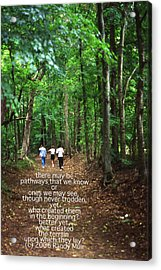 Natchez Trace Walkers With Poem Acrylic Print by Randy Muir