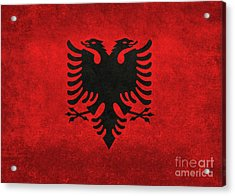 Acrylic Print featuring the digital art National Flag Of Albania With Distressed Vintage Treatment  by Bruce Stanfield