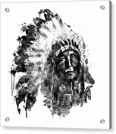 Acrylic Print featuring the mixed media Native American Chief Black And White by Marian Voicu
