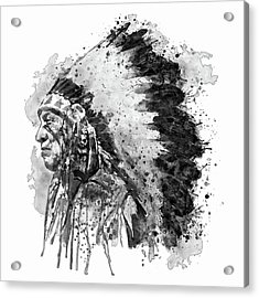 Acrylic Print featuring the mixed media Native American Chief Side Face Black And White by Marian Voicu