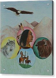 Native American Circle Of Life Acrylic Print by Jessica Hallberg