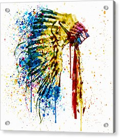 Native American Feather Headdress   Acrylic Print by Marian Voicu