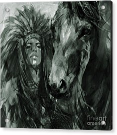 Native American Female With Horse  Acrylic Print
