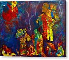 Acrylic Print featuring the painting Native American Fire Spirits by Claire Bull