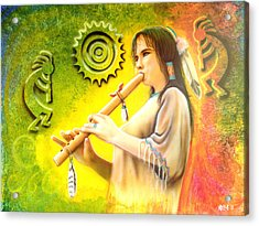 Native American Flute Player Acrylic Print by Amatzia Baruchi