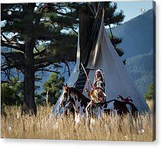 Native American In Full Headdress In Front Of Teepee Acrylic Print by Nadja Rider